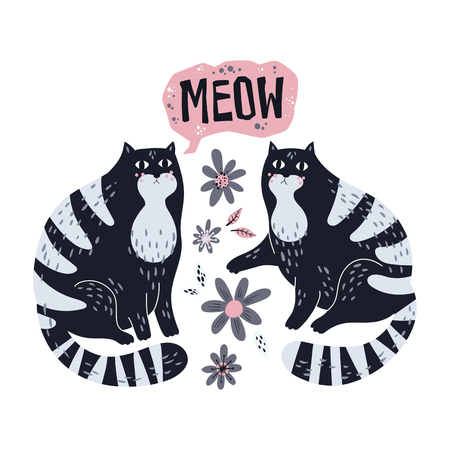 Vector flat hand drawn illustrations. Cute cats with flowers. Isolated objects for your design. Each object can be changed and moved.  Illusztráció