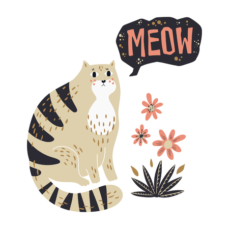Vector flat hand drawn illustrations. Cute cat with flowers. Isolated objects for your design. Each object can be changed and moved.