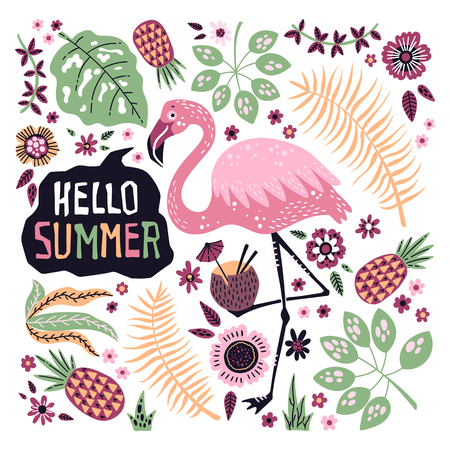 Vector flat hand drawn illustrations. Cute flamingo surrounded by tropical fruits, plants and flowers. Lettering: Hello Summer. Isolated objects for your design. Each object can be changed and moved. Vectores