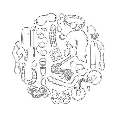 Sex toys for adults. Accessories for games. Vector illustration. Ilustração Vetorial