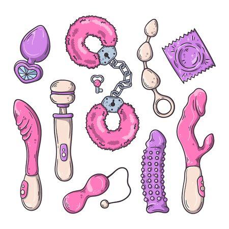 Seksspeeltjes voor volwassenen. Accessoires voor games. Vector illustratie.