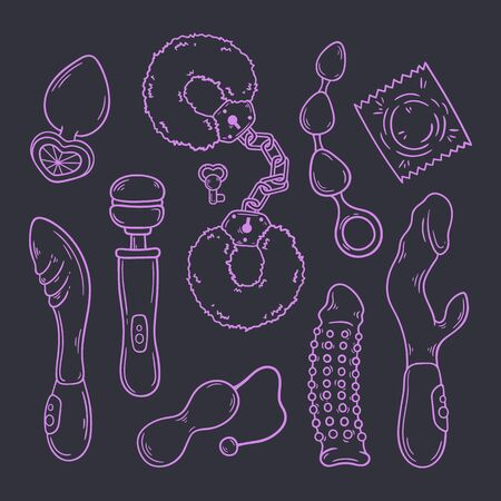 Sex toys for adults. Accessories for erotic games. Vector illustration.