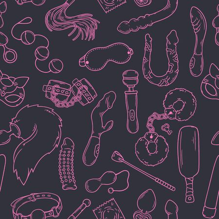 Sex toys for adults. Accessories for erotic games. Vector pattern.  イラスト・ベクター素材