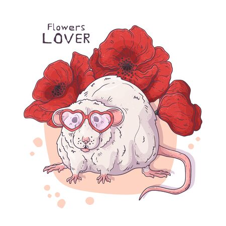 Vector hand drawn illustrations. Cute realistic rat with flowers. Each object can be changed and moved for your design. Ilustração