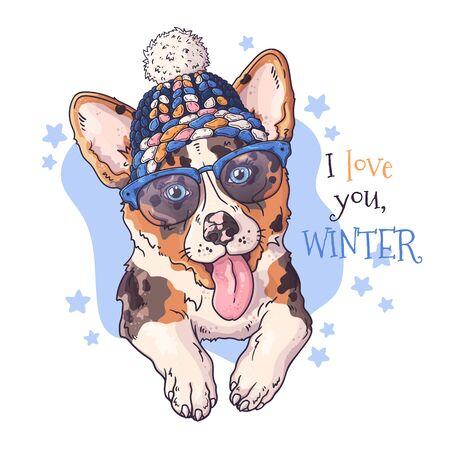 Vector ilustraciones dibujadas a mano. Retrato de animal perro corgi en accesorios de Navidad. Cada objeto se puede cambiar y mover para su diseño. Ilustración de vector