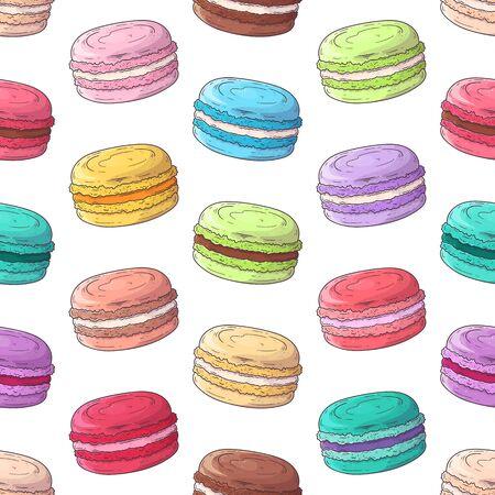 Vektor handgezeichnetes Muster. Realistisches französisches Dessert - Makronen. Jedes Objekt kann für Ihr Design geändert und verschoben werden. Vektorgrafik