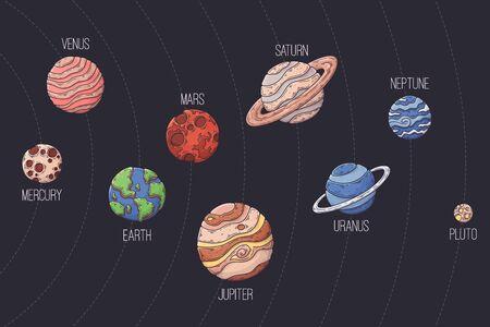 Hand drawn solar system Vector illustration illustration.