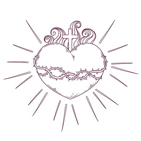 Vector sacred heart concept hand drawn illustration. Each object can be changed and moved for your design.