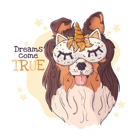 Vector hand drawn illustration. Portrait of the cute collie in a night mask with a horn. Each object can be changed and moved for your design.