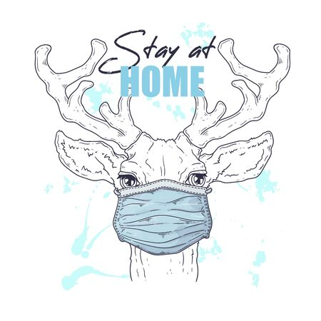Vector hand drawn illustration. Portrait of the cute animal in a medical mask. The deer against a pandemic. Each object can be changed and moved for your design.