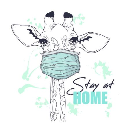 Vector hand drawn illustration. Portrait of the cute animal in a medical mask. The giraffe against a pandemic. Each object can be changed and moved for your design.