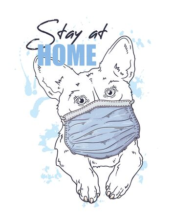 Vector hand drawn illustration. Portrait of the cute dog in a medical mask. The corgi against a pandemic. Each object can be changed and moved for your design.