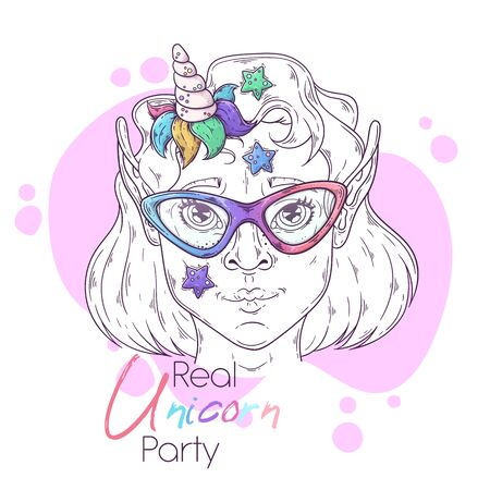 Vector hand drawn illustration. Portrait of the cute girl with a magic unicorn horn. Each object can be changed and moved for your design.