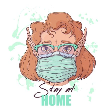 Vector hand drawn illustration. Portrait of the cute girl in a medical mask. People against a pandemic. Each object can be changed and moved for your design. Vektorgrafik