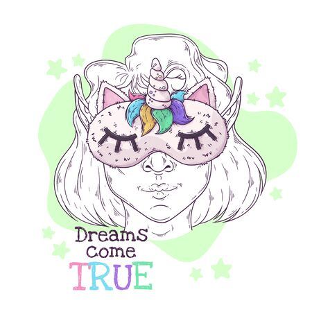 Vector hand drawn illustration. Portrait of the cute girl in a night mask with a horn. Each object can be changed and moved for your design.