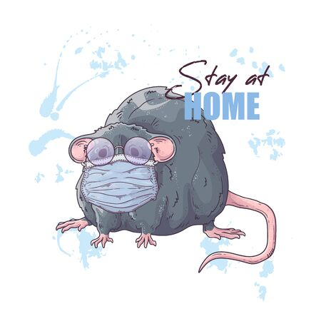 Vector hand drawn illustration. Portrait of the cute rat in a medical mask. The animal against a pandemic. Each object can be changed and moved for your design. Vektorgrafik