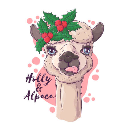 Vector hand drawn illustrations. Portrait of cute alpaca in Christmas accessories. Each object can be changed and moved for your design.