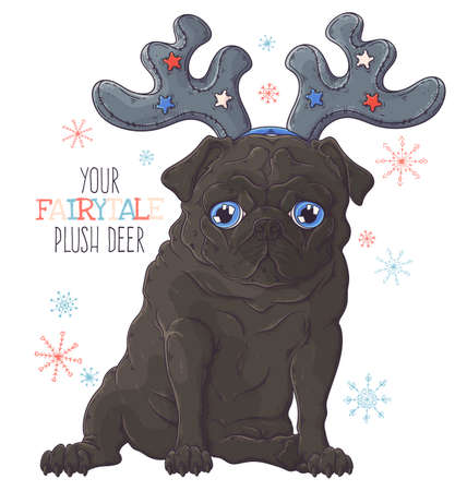 Vector hand drawn illustrations. Portrait of cute pug dog in decorative deer antlers. Each object can be changed and moved for your design.