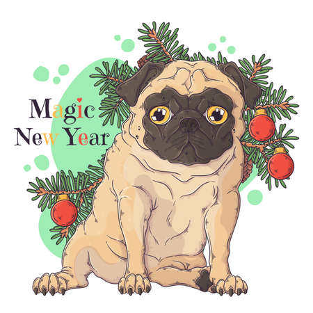 Vector hand drawn illustrations. Portrait of cute pug dog with christmas tree. Each object can be changed and moved for your design.