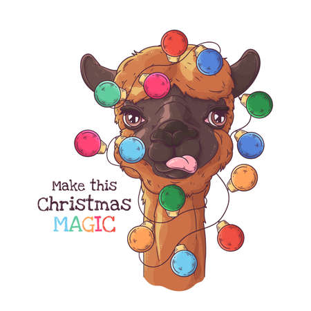 Vector hand drawn illustrations. Portrait of cute alpaca with Christmas garland. Each object can be changed and moved for your design.