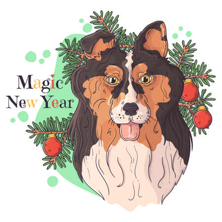 Vector hand drawn illustrations. Portrait of cute collie dog with christmas tree. Each object can be changed and moved for your design.