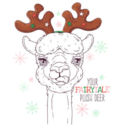 Vector hand drawn illustrations. Portrait of cute alpaca in decorative deer antlers. Line art. Each object can be changed and moved for your design. 向量圖像