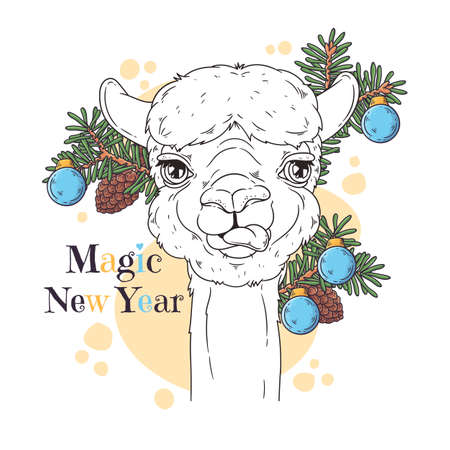 Vector hand drawn illustrations. Portrait of cute alpaca with christmas tree. Line art. Each object can be changed and moved for your design.
