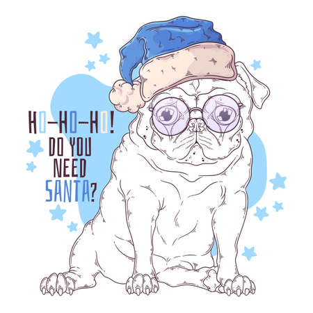 Vector hand drawn illustrations. Portrait of cute pug dog in Santa hat. Line art. Each object can be changed and moved for your design.