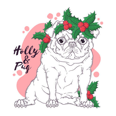 Vector hand drawn illustrations. Portrait of cute pug dog in Christmas accessories. Line art. Each object can be changed and moved for your design.
