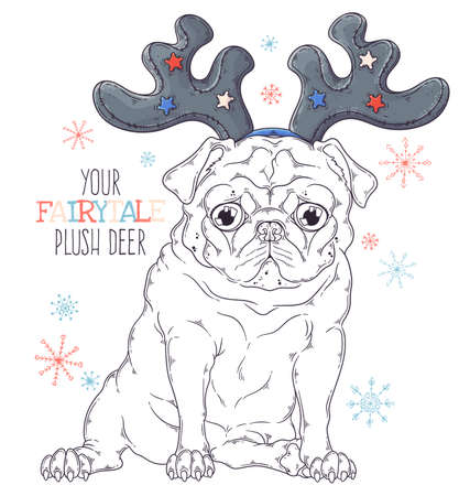 Vector hand drawn illustrations. Portrait of cute pug dog in decorative deer antlers. Line art. Each object can be changed and moved for your design.