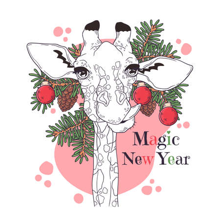 Vector hand drawn illustrations. Portrait of cute giraffe with christmas tree. Line art. Each object can be changed and moved for your design.