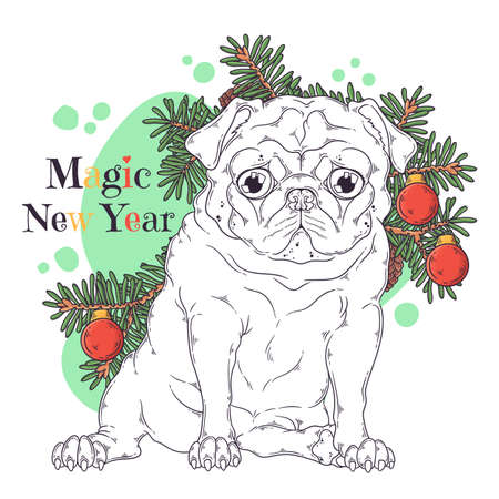 Vector hand drawn illustrations. Portrait of cute pug dog with Christmas tree. Line art. Each object can be changed and moved for your design.
