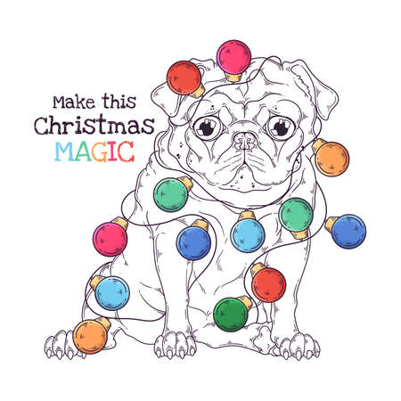 Vector hand drawn illustrations. Portrait of cute pug dog with Christmas garland. Line art. Each object can be changed and moved for your design. 向量圖像