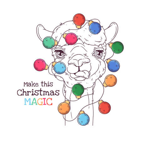 Vector hand drawn illustrations. Portrait of cute alpaca with Christmas garland. Line art. Each object can be changed and moved for your design.