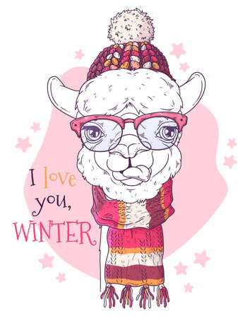 Vector hand drawn illustrations. Portrait of cute alpaca in Christmas accessories. Line art. Each object can be changed and moved for your design.