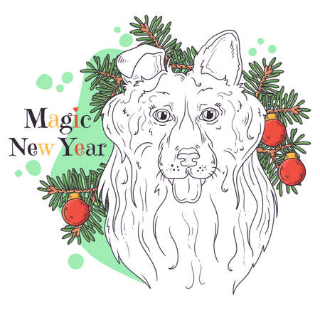 Vector hand drawn illustrations. Portrait of cute collie dog with christmas tree. Line art. Each object can be changed and moved for your design.