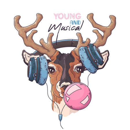 Vector hand drawn illustrations. Portrait of cute deer in musical headphones inflates a bubble of gum. Each object can be changed and moved for your design. Ilustração