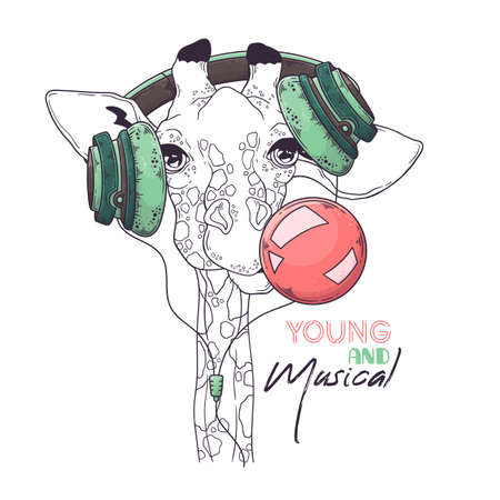 Vector hand drawn illustrations. Portrait of cute giraffe in musical headphones inflates a bubble of gum. Each object can be changed and moved for your design.