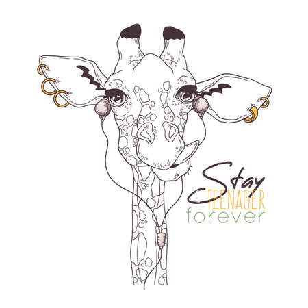 Vector hand drawn illustrations. Portrait of cute giraffe in musical accessories. Each object can be changed and moved for your design.