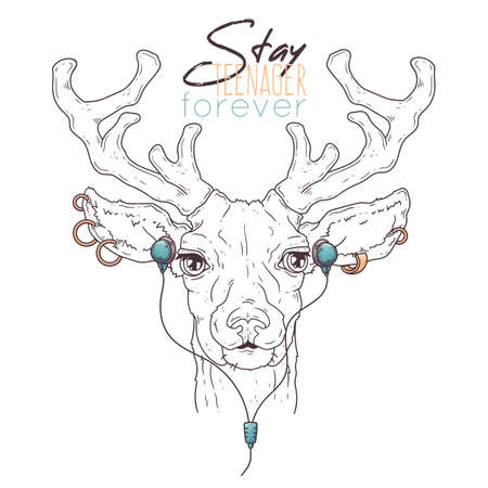 Vector hand drawn illustrations. Portrait of cute deer in musical accessories. Each object can be changed and moved for your design.