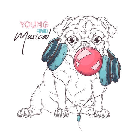 Vector hand drawn illustrations. Portrait of cute pug dog in musical headphones inflates a bubble of gum. Each object can be changed and moved for your design. Ilustração