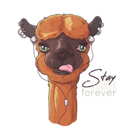 Vector hand drawn illustration. Portrait of cute alpaca. Each object can be changed and moved for your design.