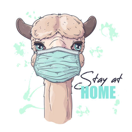 Vector hand drawn illustration. Portrait of cute alpaca in medical mask. Each object can be changed and moved for your design. 向量圖像