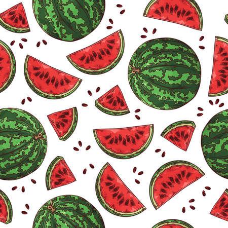 Vector hand drawn fruit watermelon. Seamless pattern. 版權商用圖片