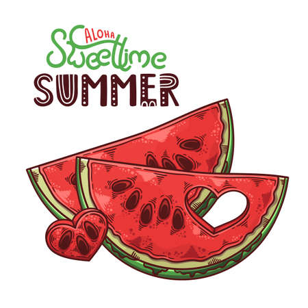 Vector hand drawn watermelon. Lettering: aloha sweet time summer.