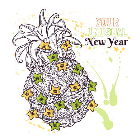 Vector hand drawn pineapple are decorated with New Years lanterns. 向量圖像
