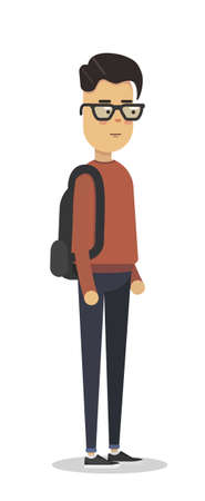 Flat vector illustration of student in red pullover with backpack. Student walk.