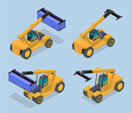 Vector isometric illustration of reach stacker. Front and back sides of container loader. Vektorgrafik