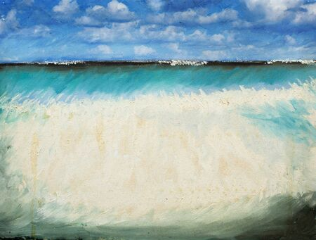 clouds scape: Sea scape image by oil painting and photography mixed media