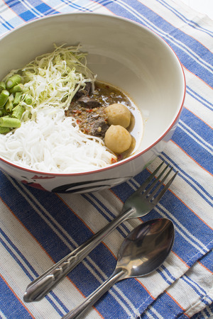 isaan: Rice noodles with Thai Isaan spicy soup